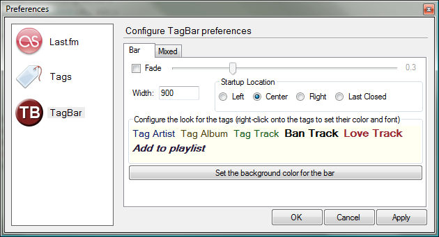 TagBar Preferences Bar
